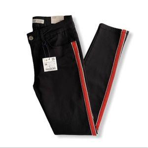 Zara Basic Black Mid Rise Skinny Denim Pants Sz 6